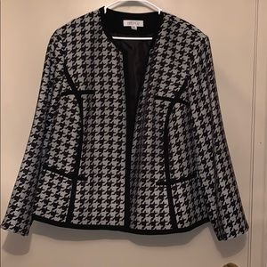Kasper Houndstooth Plaid Blazer